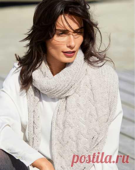 Светло-серый платок с ажурным узором - Verena.ru