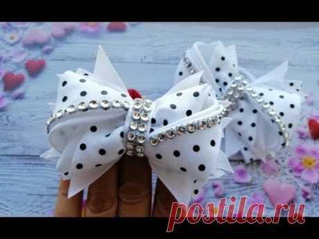 Бантики из репсовых лент Резинки для волос МК / The bow of REP ribbons / Laços de fitas