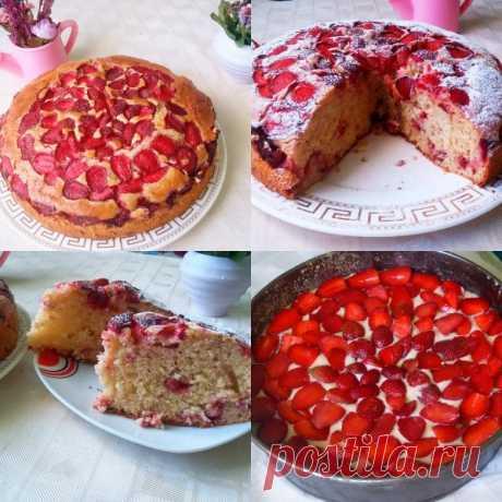 Пирог с клубникой за 10 минут
