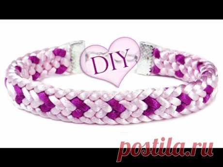 """DIY: Kumihimo ♡LOVE ♡ bracelet \/ la Pulsera de \""""Kumihimo\"""" plano de 12 hilos (los corazoncitos)"""