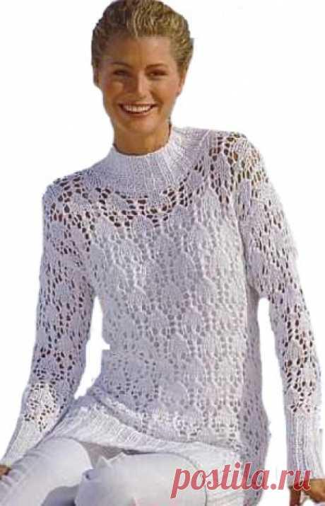 Белый ажурный свитер - вязание спицами