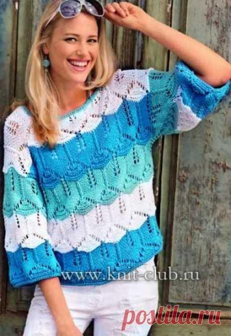 Пуловер спицами. Женские вязаные пуловеры
