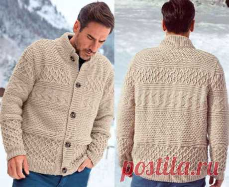 Man's cardigan knitted spokes: 5 models with schemes, the description and video of MK