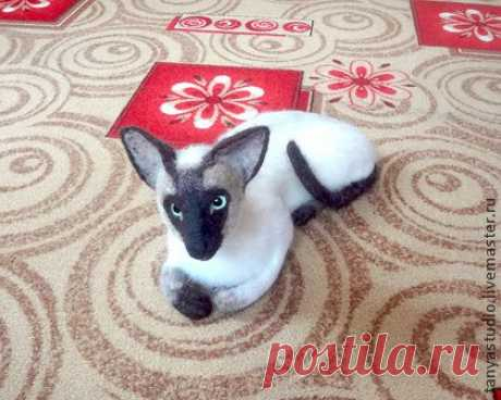 Скульптура кошки ориентальная сиамская - войлочная скульптура,Сухое валяние