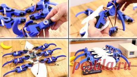 """Шестиногий шагающий робот с управлением по Bluetooth Приветствую всех на сайте """"В гостях у Самоделкина"""". В этой статье предлагаю Вам рассмотреть изготовление гексапода — шестиногого шагающего робота. Автор этого робота давно хотел сделать его, вдохновленный другим проектом нескольких лет назад. Этот робот полностью напечатан на 3D принтере"""