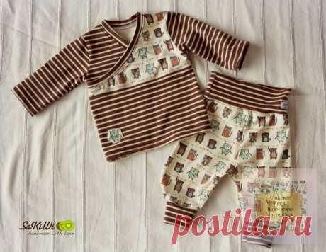 Комплект для малышей Футболка и штанишки  Размер выкройки футболки 50-110 Размер выкройки штанишек 50-62