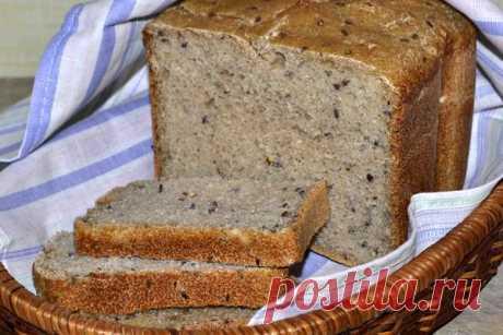Бездрожжевой хлеб с семенами льна в хлебопечке на ржаной закваске