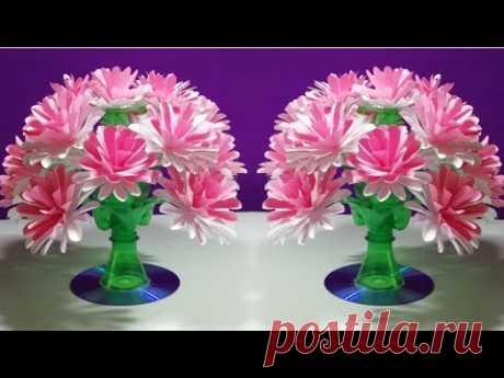 Easy Beautiful paper flower    Empty plastic bottle vase making crafte-Water bottle Recycle flower