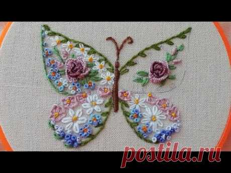 Floral embroidery : Flower Butterfly | easy stisch