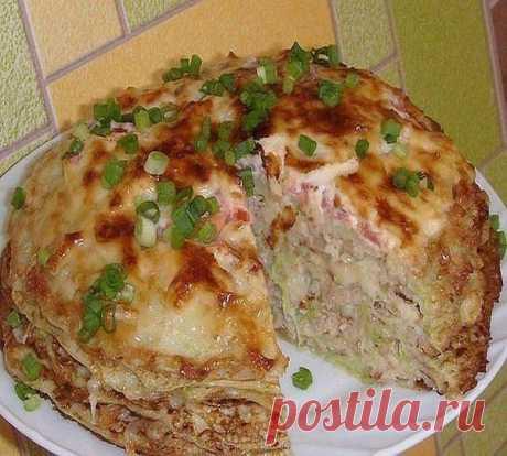 Кабачково-сырный тортик с мясом - просто объедение!