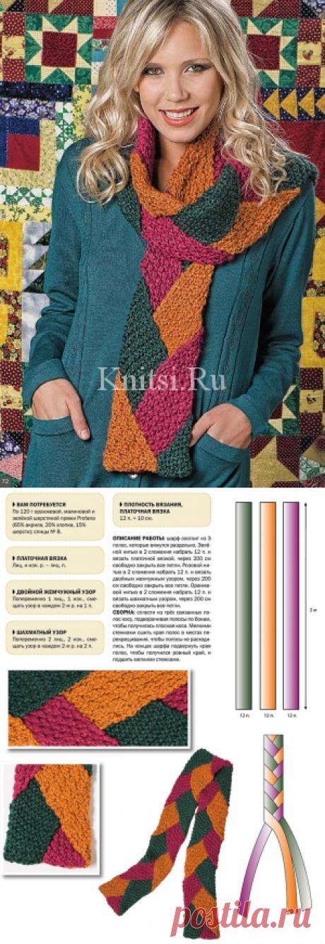 """Шарф """"лоскутные мотивы"""". Вязание для женщин / Шапки и шарфы / Спицами"""