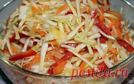 Очень вкусный и простой салат из свежей капусты с болгарским перцем