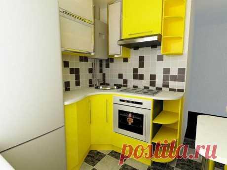 El diseño, el planeo y el curso de la reparación de la cocina amarilla de 6 sq. m (15 fotos)