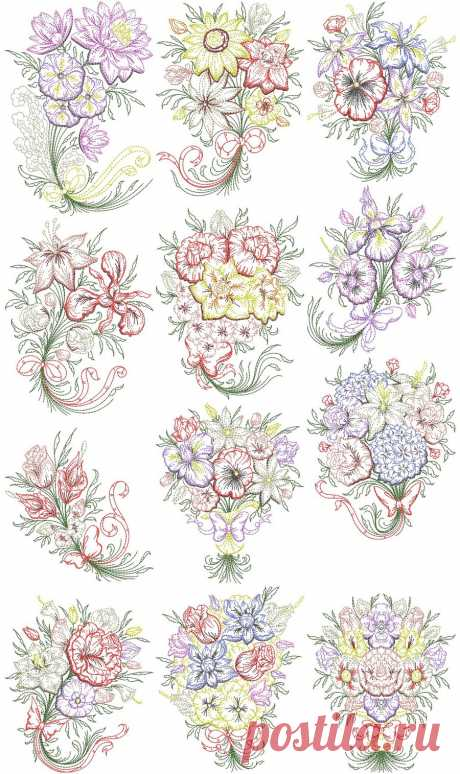 Timeless Bouquets | Machine Embroidery Designs By Sew Swell