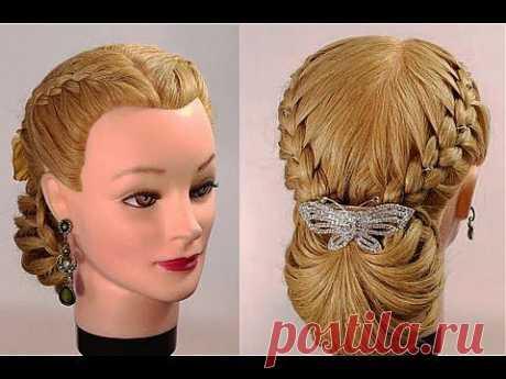 Праздничная прическа на длинные волосы.