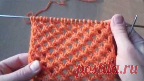 Узор сетка, сетчатый узор спицами. Узоры спицами для начинающих Knitting pattern