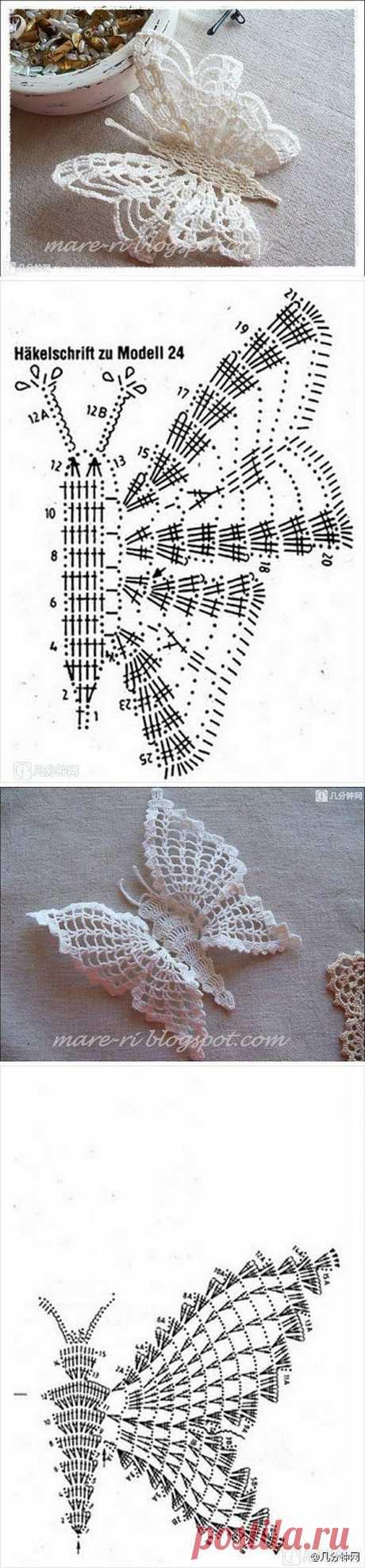 Бабочки и мотивы крючком.
