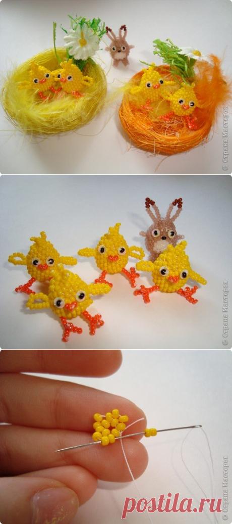 Пасхальные цыплята из бисера