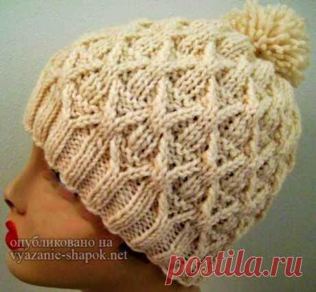 Женская креативная шапка плетенка спицами со схемой и описанием от Гретхен Трейси | Вязание Шапок - Модные и Новые Модели