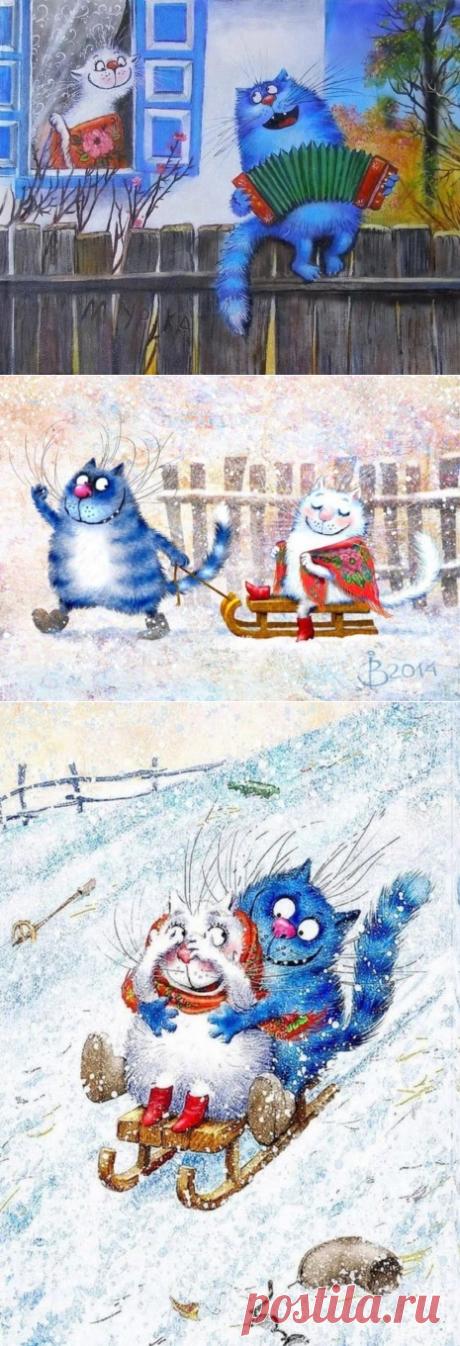 Художник Ирина Зенюк   Синие коты