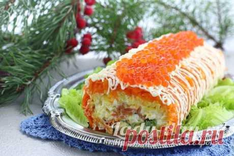 Салат Царский с красной рыбой и икрой, рецепт