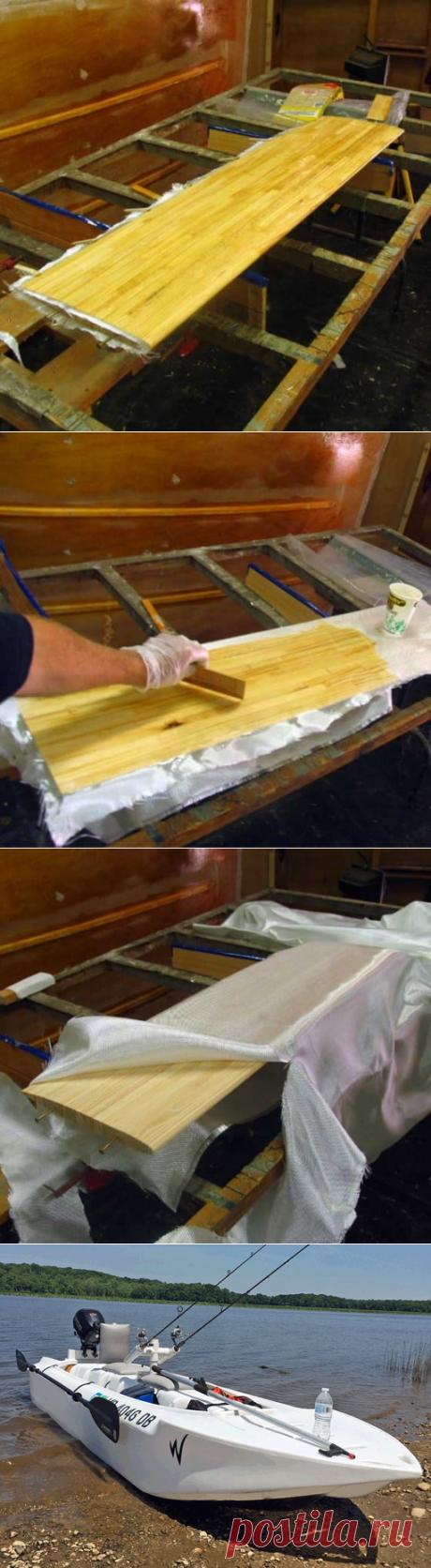 Glasieren von Holzsegelbootfolien für Glätte und Genauigkeit - boat