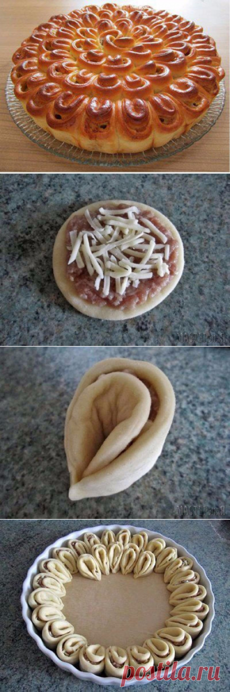 Мясной пирог «Хризантема» — Вкусные рецепты