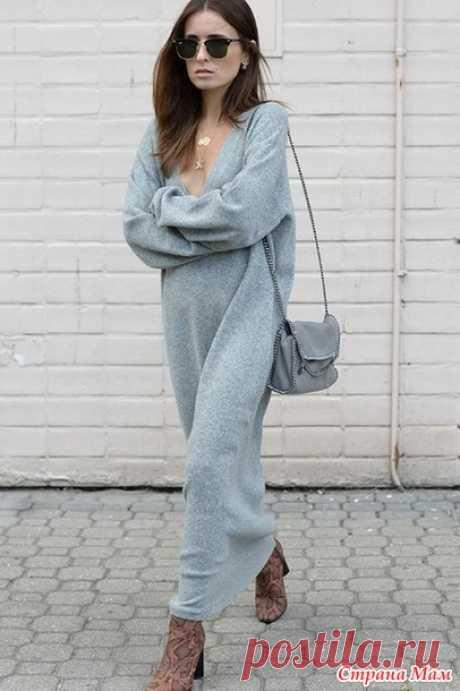 Длинное платье-свитер в стиле кэжуал, экстремальный оверсайз, спицами. - Вяжем вместе он-лайн - Страна Мам