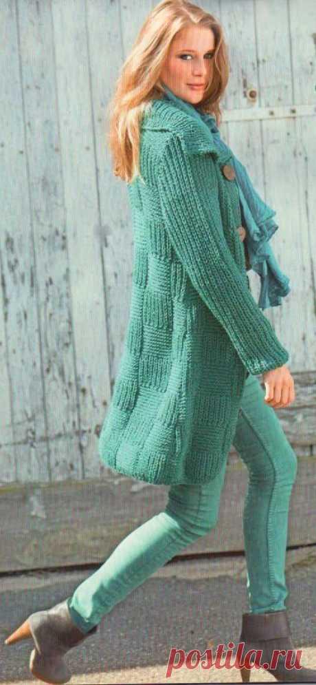 Длинный жакет с шахматным узором. | Пуловер, свитер, жакет.