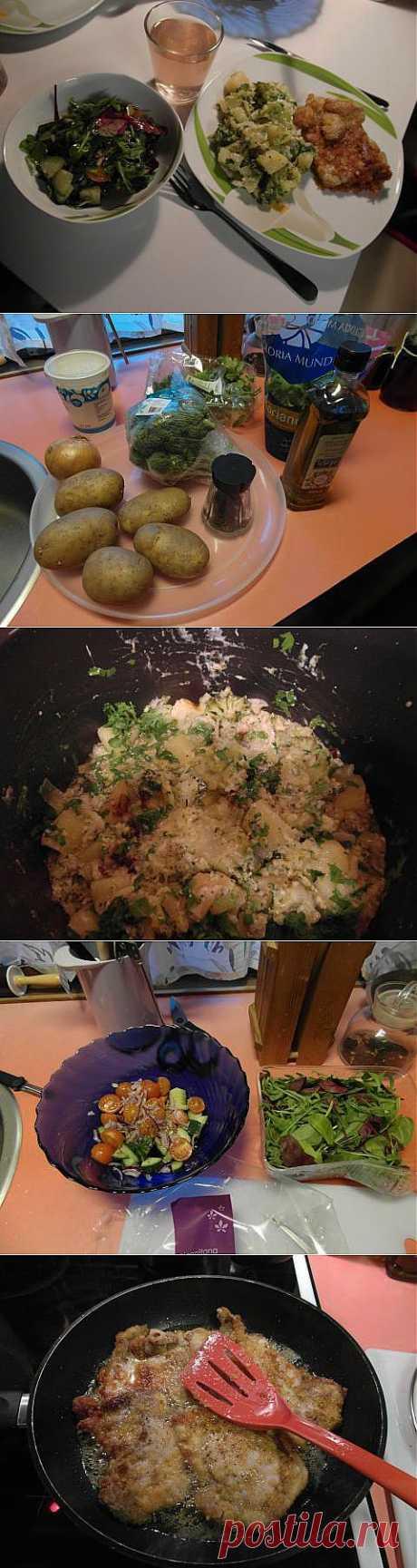 ужин за 50 минут: Шницель куриный, сотэ из картофеля и брокколи и салат-микс с черри и огурцом | 4vkusa.ru