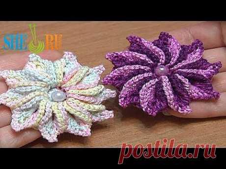 ▶ Вязание цветка Урок 47 Нежный цветочек с десятью лепестками