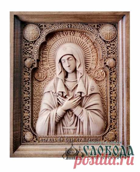 Икона Божией Матери «Умиление» резная деревянная В христианстве среди православных чтятся несколько основных типов святынь, изображающие облик Пресвятой Девы и одна из таких святынь икона Божьей Матери «Умиление».