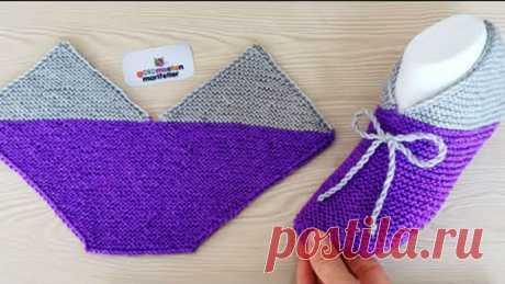 Непривычный метод вязания носков (Вязание спицами) Непривычный метод вязания носков. Видео урок на турецком языке, но все понятно без слов!