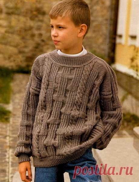 Коричневый джемпер для мальчика (Вязание спицами) – Журнал Вдохновение Рукодельницы