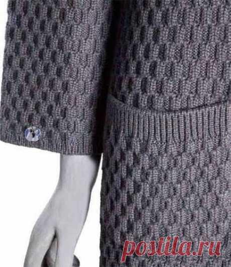 Плотный узор спицами для пальто или жакета
