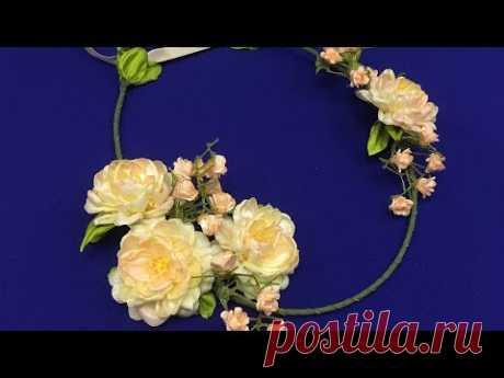Ribbon flowers.Hair crown/Corona con flores/Веночек с цветами из лент 2.5см