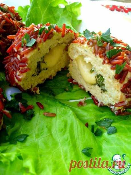 Паровые куриные котлетки в шубке из риса - кулинарный рецепт