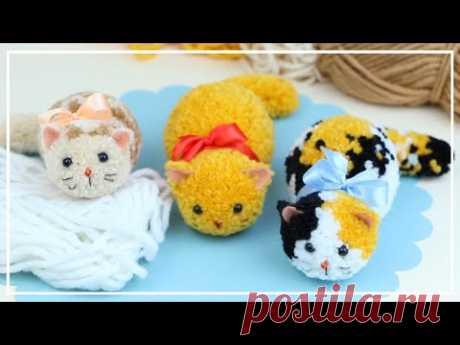 Как сделать Котёнка из ниток для вязания 🐱 🧶🐈  Yarn Kitty Making 🌟  DIY NataliDoma