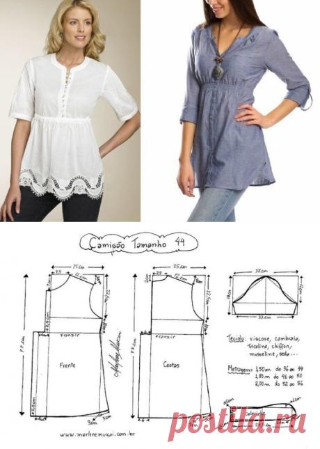 Выкройка блузки с длинным рукавом (Шитье и крой) – Журнал Вдохновение Рукодельницы