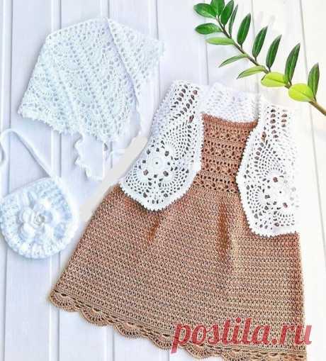 Лето  #вязание #knitting #kniter #вязаниеназаказ #белый #сарафан #девочке #лето #платье #хлопок
