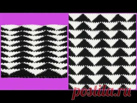 """Узор """"треугольники"""" тунисским крючком. Мастер класс вязания крючком. Crochet pattern."""