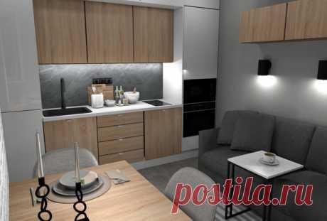 Уютная кухня-гостиная , в современном стиле . автор : Чупов АВ