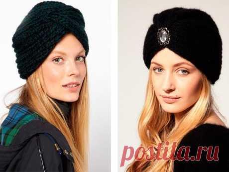 Шерстяная шапка-чалма для холодного времени года