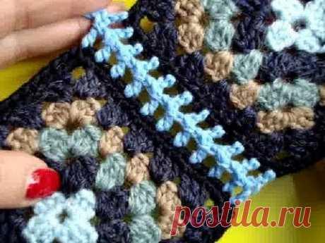 Вязание крючком Урок 236 Соединение мотивов 6 Join crochet motifs