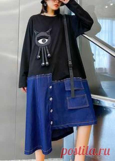 Bohemian o neck patchwork tunics for women Shape black Vestidos De Lin – SooLinen