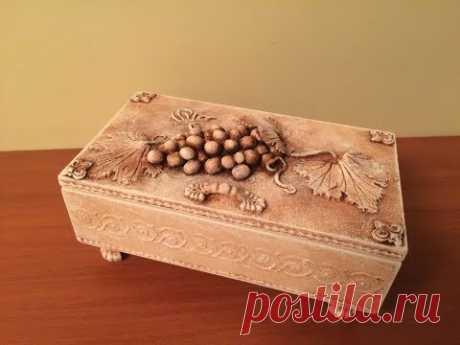 Декор деревянной шкатулки. Используем полимерную глину.