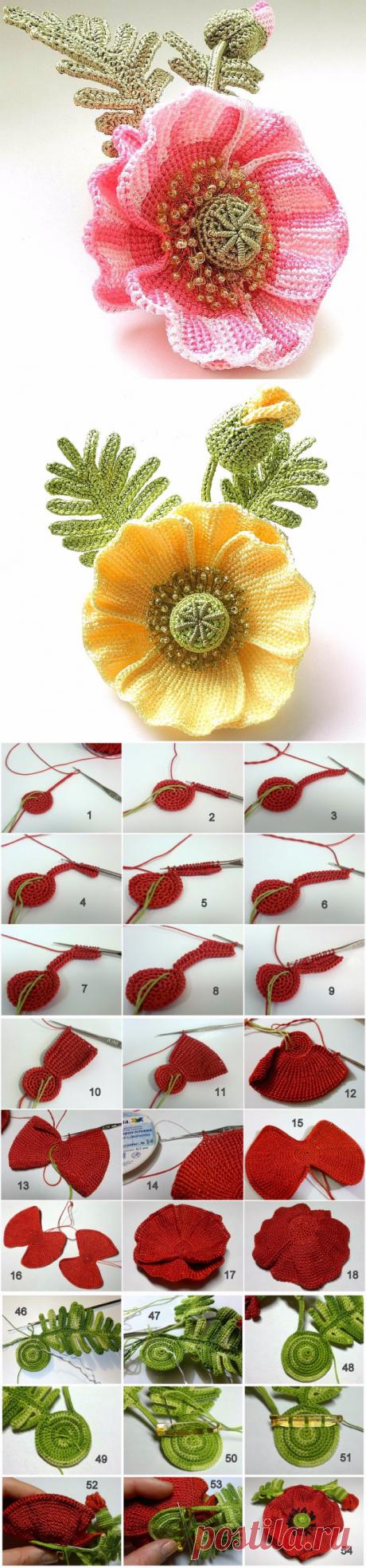 Маки-пошаговая инструкция вязания крючком