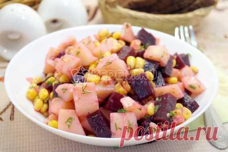 Салат со свеклой кукурузой(постный)