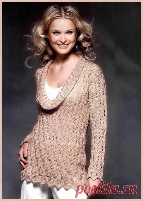 Длинный ажурный вязаный пуловер, схема вязания - 19 Октября 2010 - Вязание спицами, модели и схемы для вязания на спицах