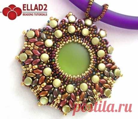 Beautiful beadwoven pendant with Pellet beads, Superduo beads, O-beads and seed beads.Beading Tutorial for Darma Pendant is very detailed, easy to …